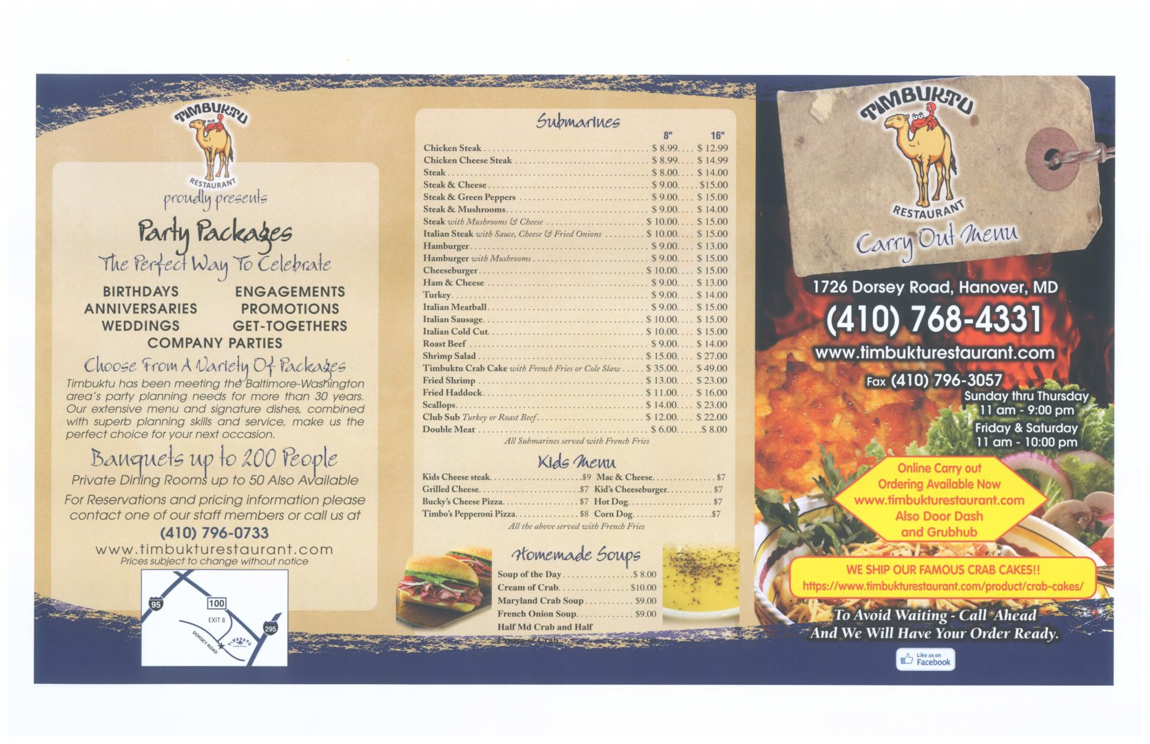 Carry Out Menu page 1